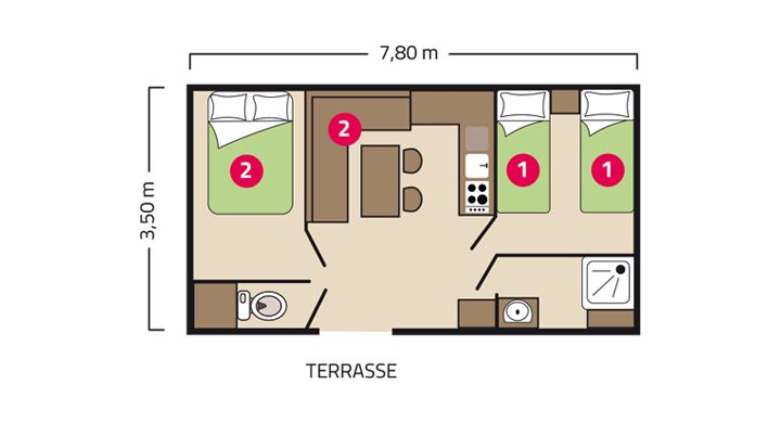 Plan mobil-home Atlantique camping de L'Eve